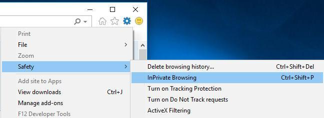 Switch on InPrivate Browsing in Internet Explorer