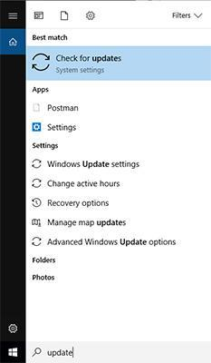Opening Windows Update panel