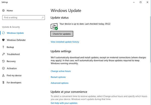 Windows update panel