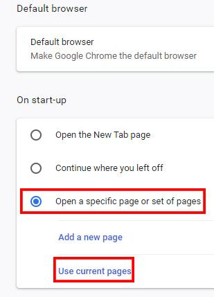 "Pick ""Open a specific set of pages"""