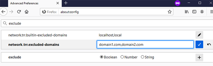 Enter the domains you wish to exclude