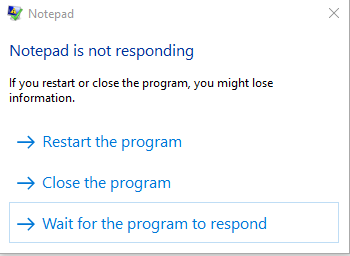 App is not responding prompt