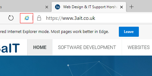 Verify the IE logo has appeared in the address bar