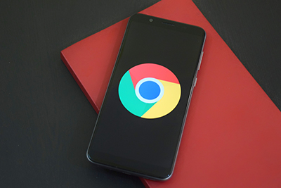 Google Chrome logo on phone