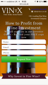 Web App Design: Wine Investment Landing Page