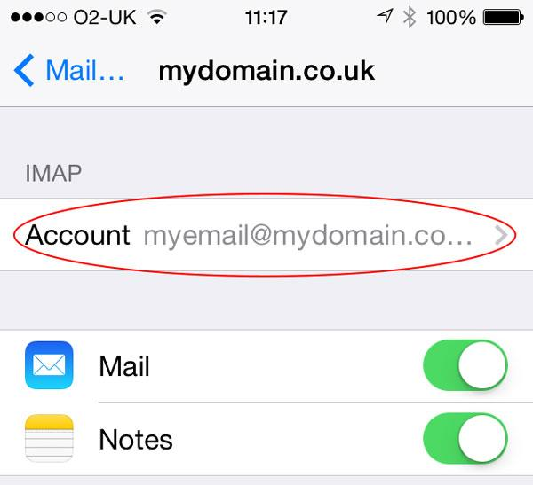Step 10: Touch the account name under the IMAP text.
