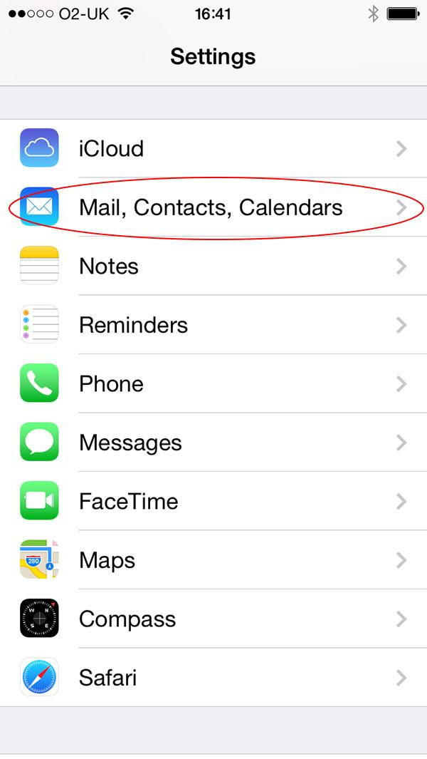 "Step 2: Touch ""Mail, Contacts and Calendars"""