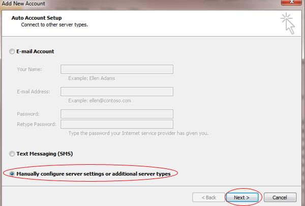 "Step 3: Select ""Manually configure server settings"" and click Next"