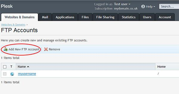 "Step 4: Click ""Add New FTP Account"""